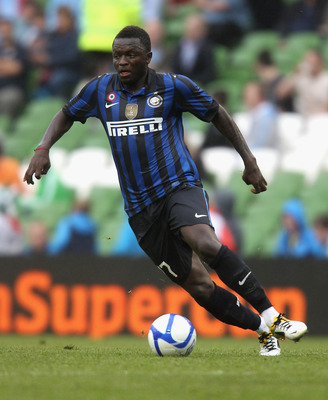 DUBLIN, IRELAND - JULY 31:  Sulley Muntari of Inter Milan runs with the ball during the Dublin Super Cup match between Inter Milan and Manchester City at the Aviva Stadium on July 31, 2011 in Dublin, Ireland.  (Photo by David Rogers/Getty Images)