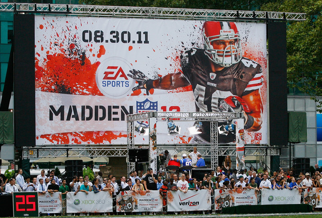 NEW YORK, NY - JULY 27:  A general view of the fans enjoying the Madden NFL 12 Pigskin Pro-Am at Bryant Park on July 27, 2011 in New York City.  (Photo by Andy Marlin/Getty Images for EA Sports)