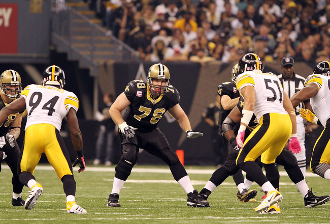 NEW ORLEANS, LA - OCTOBER 31: Jon Stinchcomb #78 of the New Orleans Saints in action during the game against the Pittsburgh Steelers at the Louisiana Superdome on October 31, 2010 in New Orleans, Louisiana. (Photo by Matthew Sharpe/Getty Images)