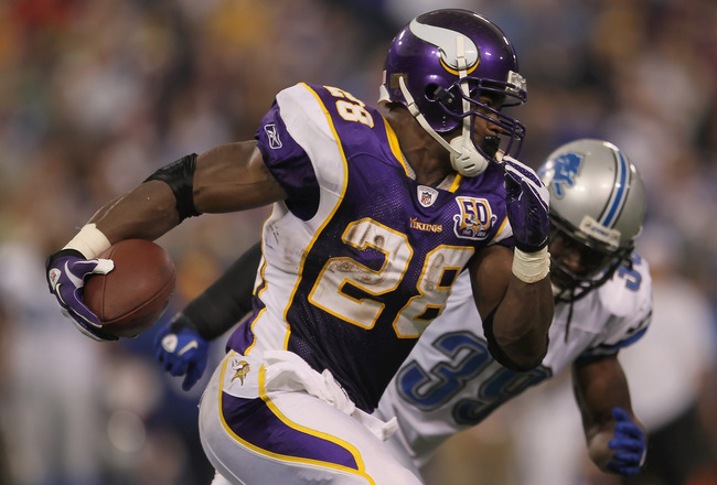 MINNEAPOLIS - SEPTEMBER 26:  Running back Adrian Peterson #28 of the Minnesota Vikings carries the ball around C.C. Brown #39 of the Detroit Lions for a touchdown during the second half at Hubert H. Humphrey Metrodome on September 26, 2010 in Minneapolis,