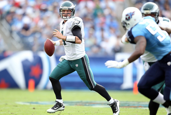 NASHVILLE, TN - OCTOBER 24:  Kevin Kolb #4 of the Philadelphia Eagles runs with the ball during the NFL game against the Tennessee Titans at LP Field on October 24, 2010 in Nashville, Tennessee.  (Photo by Andy Lyons/Getty Images)