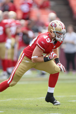 SAN FRANCISCO, CA - AUGUST 20:  Bruce Miller #49 of the San Francisco 49ers warms up before their game against the Oakland Raiders at Candlestick Park on August 20, 2011 in San Francisco, California.  (Photo by Ezra Shaw/Getty Images)