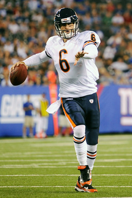EAST RUTHERFORD, NJ - AUGUST 22:  Jay Cutler #6 of the Chicago Bears throws a pass against the New York Giants during a pre season game at New Meadowlands Stadium on August 22, 2011 in East Rutherford, New Jersey.  (Photo by Patrick McDermott/Getty Images