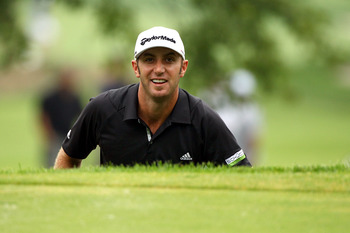 EDISON, NJ - AUGUST 27:  Dustin Johnson reacts after he made an eagle on the fourth hole during the third and final round of The Barclays at Plainfield Country Club on August 27, 2011 in Edison, New Jersey. The tournament was cut down from a 72 hole compe