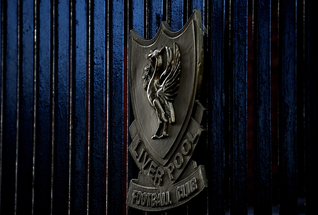 LIVERPOOL, ENGLAND - JANUARY 30: The Liverpool crest on the Shankley Gates during the Barclays Premier League match between Liverpool and Bolton Wanderers at Anfield on January 30, 2010 in Liverpool, England.  (Photo by Laurence Griffiths/Getty Images)