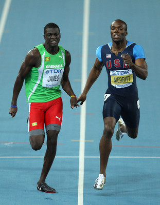 DAEGU, SOUTH KOREA - AUGUST 30:  Kirani James (L) of Grenada and LaShawn Merritt of United State compete in the men's 400 metres final during day four of the 13th IAAF World Athletics Championships at the Daegu Stadium on August 30, 2011 in Daegu, South K