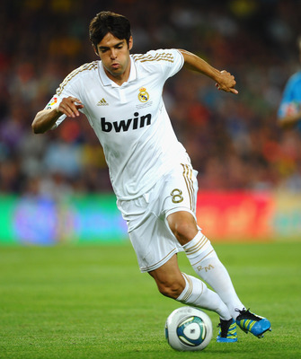 BARCELONA, SPAIN - AUGUST 17:  Kaka of Real Madrid in action during the Super Cup second leg match between Barcelona and Real Madrid at Nou Camp on August 17, 2011 in Barcelona, Spain.  (Photo by Laurence Griffiths/Getty Images)