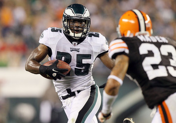 PHILADELPHIA, PA - AUGUST 25:  LeSean McCoy #25 of the Philadelphia Eagles runs the ball against Joe Haden #23 of the Cleveland Browns during their pre season game on August 25, 2011 at Lincoln Financial Field in Philadelphia, Pennsylvania.  (Photo by Jim