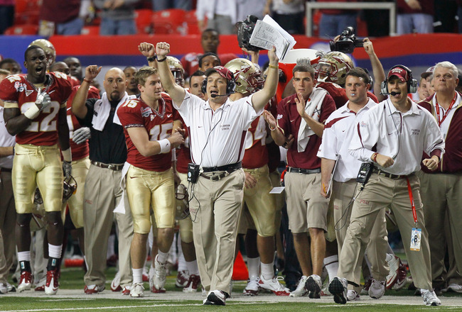 ATLANTA, GA - DECEMBER 31:  Head coach Jimbo Fisher and the Florida State Seminoles sideline reacts after getting a first down in the final seconds of their 26-17 win over the South Carolina Gamecocks during the 2010 Chick-fil-A Bowl at Georgia Dome on De
