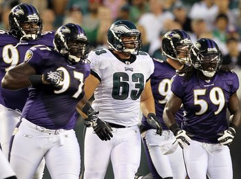 PHILADELPHIA, PA - AUGUST 11:  Danny Watkins #63 of the Philadelphia Eagles in action against the Baltimore Ravens during their pre season game on August 11, 2011 at Lincoln Financial Field in Philadelphia, Pennsylvania.  (Photo by Jim McIsaac/Getty Image