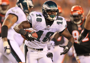 CINCINNATI - AUGUST 20:  Jeremy Maclin #18 of the Philadelphia Eagles is pictured during the NFL preseason game against the Cincinnati Bengals at Paul Brown Stadium on August 20, 2010 in Cincinnati, Ohio.  (Photo by Andy Lyons/Getty Images)