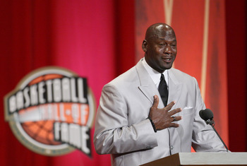 SPRINGFIELD, MA - SEPTEMBER 11: Michael Jordan reacts during his induction into the Naismith Memorial Basketball Hall of Fame on September 11, 2009 in Springfield, Massachusetts. NOTE TO USER: User expressly acknowledges and agrees that, by downloading an