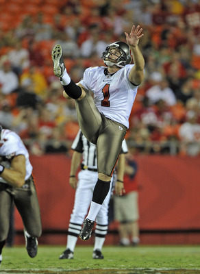 KANSAS CITY, MO - AUGUST 12:  Punter Robert Malone #1 of the Tampa Bay Buccaneers in action during a game against the Kansas City Chiefs on August 12, 2011 at Arrowhead Stadium in Kansas City, Missouri.  (Photo by Peter Aiken/Getty Images)