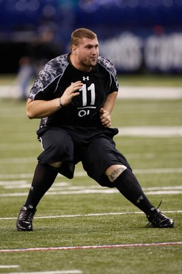 INDIANAPOLIS, IN - FEBRUARY 27: Offensive lineman Brandon Carter of Texas Tech runs during the NFL Scouting Combine presented by Under Armour at Lucas Oil Stadium on February 27, 2010 in Indianapolis, Indiana. (Photo by Scott Boehm/Getty Images)
