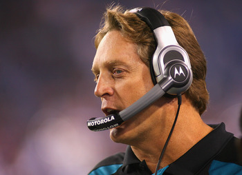 ORCHARD PARK, NY - AUGUST 27:  Head coach Jack Del Rio of the Jacksonville Jaguars stands on the sidelines against the Buffalo Bills at Ralph Wilson Stadium on August 27, 2011 in Orchard Park, New York .Buffalo won 35-32 in overtime  (Photo by Rick Stewar