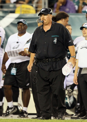 PHILADELPHIA, PA - AUGUST 11:  Head coach Andy Reid of the Philadelphia Eagles looks on against the Baltimore Ravens during a preseason game on August 11, 2011 at Lincoln Financial Field in Philadelphia, Pennsylvania.  (Photo by Jim McIsaac/Getty Images)