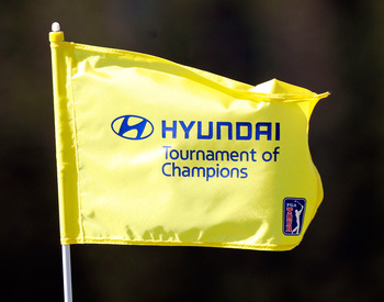 KAPALUA, HI - JANUARY 09:  A tournament flag is displayed during the final round of the Hyundai Tournament of Champions at the Plantation course on January 9, 2011 in Kapalua, Hawaii.  (Photo by Sam Greenwood/Getty Images)