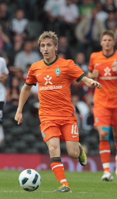 LONDON, ENGLAND - AUGUST 07: Marko Marin of Werder Bremen during a Friendly match between Fulham and Werder Bremen at Craven Cottage on August 7, 2010 in London, England.  (Photo by Phil Cole/Getty Images)