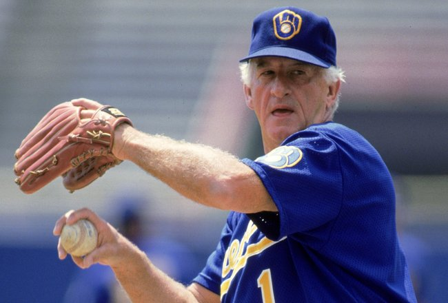 Undated: Bob Uecker wears a Milwaukee Brewers unifom as he throws a pitch for the camera. Mandatory Credit: Jonathan Daniel  /Allsport