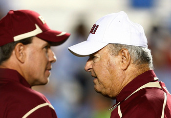 CHAPEL HILL, NC - OCTOBER 22:  Florida State Seminoles Head Coach Bobby Bowden, (R) and Offensive Coordinator Jimbo Fisher watch the pregame action prior to the start of the game against the North Carolina Tar Heels at Kenan Stadium on October 22, 2009 in