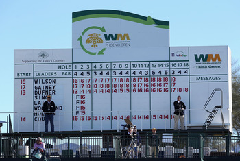 SCOTTSDALE, AZ - FEBRUARY 07:  The leaders scoreboard during the final round of the Waste Management Phoenix Open at TPC Scottsdale on February 7, 2011 in Scottsdale, Arizona.  (Photo by Christian Petersen/Getty Images)