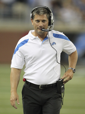 DETROIT - AUGUST 12: Detroit Lions head coach Jim Schwartz watches the action during the game against the Cincinnati Bengals at Ford Field on August 12, 2011 in Detroit, Michigan.  (Photo by Leon Halip/Getty Images)