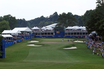 GREENSBORO, NC - AUGUST 21: A view of the 18th hole during the final round of the Wyndham Championship at Sedgefield Country Club on August 21, 2011 in Greensboro, North Carolina. (Photo by Hunter Martin/Getty Images)