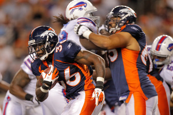 DENVER, CO - AUGUST 20:  Running back Brandon Minor #36 of the Denver Broncos runs with the ball against the Buffalo Bills at Sports Authority Field at Mile High on August 20, 2011 in Denver, Colorado. The Broncos defeated the Bills 24-10. (Photo by Justi