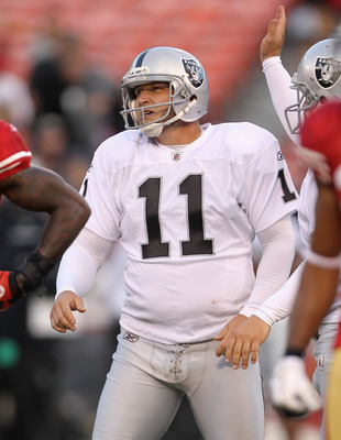 SAN FRANCISCO, CA - AUGUST 20:  Sebastian Janikowski #11 of the Oakland Raiders in action against the San Francisco 49ers at Candlestick Park on August 20, 2011 in San Francisco, California.  (Photo by Ezra Shaw/Getty Images)