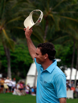 HONOLULU, HI - JANUARY 16:  Mark Wilson reacts to winning the Sony Open at Waialae Country Club on January 16, 2011 in Honolulu, Hawaii.  (Photo by Sam Greenwood/Getty Images)