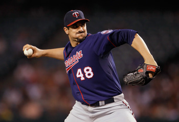 ANAHEIM, CA - SEPTEMBER 02:  Carl Pavano #48 of the Minnesota Twins pitches against the Los Angeles Angels of Anaheim in the sixth inning at Angel Stadium of Anaheim on September 2, 2011 in Anaheim, California.  (Photo by Jeff Gross/Getty Images)