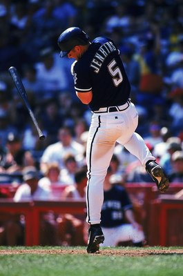 4 Sep 1999: Geoff Jenkins #5 of the Milwaukee Brewers is hit by the ball as he stands ready at bat during the game against the St. Louis Cardinals at the County Stadium in Milwaukee, Wisconsin. The Brewers defeated the Cardinals 4-2. Mandatory Credit: Jon
