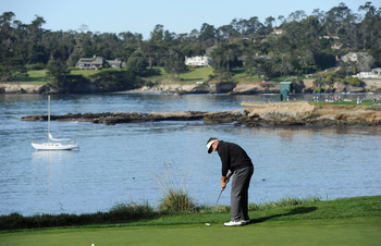 PEBBLE BEACH, CA - FEBRUARY 13: Stuart Appleby of Australia putts during the final round of the AT&T Pebble Beach National Pro-Am at Pebble Beach Golf Links on February 13, 2011  in Pebble Beach, California.  (Photo by Stuart Franklin/Getty Images)