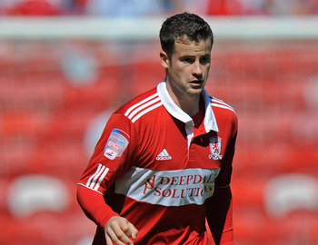 MIDDLESBROUGH, ENGLAND - AUGUST 22: Matthew Bates of Middlesbrough in action during the npower Championship match between Middlesbrough and Sheffield United at the Riverside Stadium on August 22, 2010 in Middlesbrough, England.  (Photo by Michael Regan/Ge