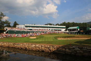 WHITE SULPHUR SPRINGS, WV - JULY 31: A view of the 18th green during the final round of The Greenbrier Classic at The Old White TPC on July 31, 2011 in White Sulphur Springs, West Virginia. (Photo by Hunter Martin/Getty Images)
