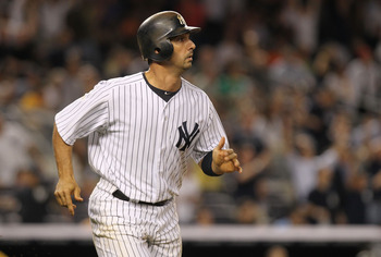 NEW YORK, NY - AUGUST 23: Jorge Posada #20 of the New York Yankees against the Oakland Athletics on August 23, 2011 at Yankee Stadium in the Bronx borough of New York City.  (Photo by Nick Laham/Getty Images)