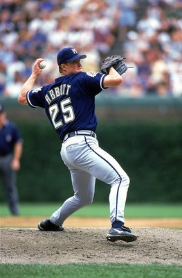 30 Jun 1999: Pitcher Jim Abbott #25 of the Milwaukee Brewers winds back to pitch the ball during the game against the Chicago Cubs at Wrigley Field in Chicago, Illinois. The Cubs defeated the Brewers 5-4.