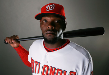 VIERA, FL - FEBRUARY 28:  Outfielder Elijah Dukes #34 of the Washington Nationals poses during photo day at Space Coast Stadium on February 28, 2010 in Viera, Florida.  (Photo by Doug Benc/Getty Images)