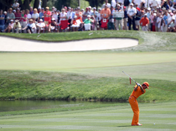 ORLANDO, FL - MARCH 27:  Rickie Fowler plays a shot during the final round of the Arnold Palmer Invitational presented by MasterCard at the Bay Hill Club and Lodge on March 27, 2011 in Orlando, Florida.  (Photo by Sam Greenwood/Getty Images)