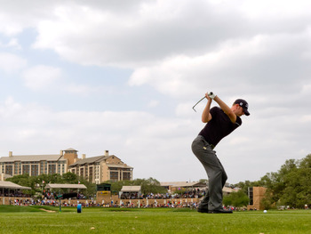 SAN ANTONIO, TX - APRIL 17: Brendan Steele plays a tee shot on the 16th hole during the final round of the Valero Texas Open at the AT&T Oaks Course at TPC San Antonio on April 17, 2011 in San Antonio, Texas. (Photo by Darren Carroll/Getty Images)