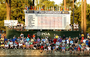 JOHNS CREEK, GA - AUGUST 14:  A leaderboard is seen during the playoff during the final round of the 93rd PGA Championship at the Atlanta Athletic Club on August 14, 2011 in Johns Creek, Georgia.  (Photo by Andrew Redington/Getty Images)