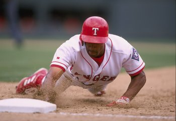 12 Apr 1998:  Tom Goodwin #24 of the Texas Rangers in action during a game against the Toronto Blue Jays at the Ballpark in Arlington in Arlington, Texas. The Rangers defeated the Blue Jays 3-1. Mandatory Credit: Stephen Dunn  /Allsport