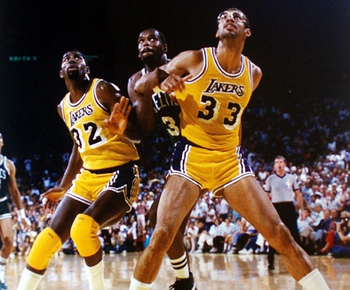 Magic Johnson and Kareem Abdul-Jabbar