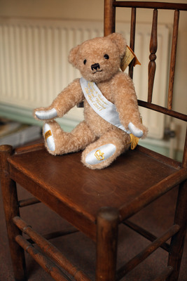 IRONBRIDGE, UNITED KINGDOM - APRIL 05:  The first Commemorative Royal Wedding Bear sits in the shop of the Merrythought teddy bear factory on April 5, 2011 in Ironbridge, England. Established in 1930, Merrythought has been hand-making Teddy Bears for over
