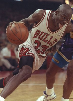2 May 1991: Guard Michael Jordan of the Chicago Bulls works against the Los Angeles Lakers during Game One of the NBA finals at the United Center in Chicago, Illinois. The Lakers won the game, 93-91.