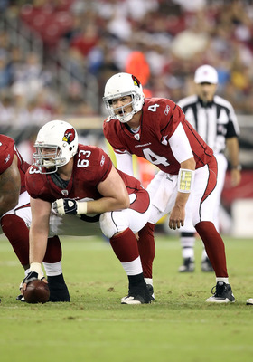 GLENDALE, AZ - AUGUST 27:  Quarterback Kevin Kolb #4 of the Arizona Cardinals prepares to snap the football during the preseason NFL game against the San Diego Chargers at the University of Phoenix Stadium on August 27, 2011 in Glendale, Arizona.  The Cha