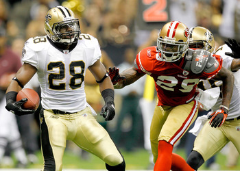 NEW ORLEANS, LA - AUGUST 12: Mark Ingram #28 of the New Orleans Saints scores a touchdown against the San Francisco 49ers during their pre season game at Louisiana Superdome on August 12, 2011 in New Orleans, Louisiana.  (Photo by Sean Gardner/Getty Image