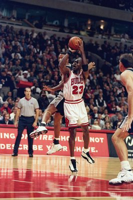4 Nov 1997:  Guard Michael Jordan of the Chicago Bulls in action during a game against the San Antonio Spurs at the United Center in Chicago, Illinois.  The Bulls won the game 87-83 in overtime. Mandatory Credit: Jonathan Daniel  /Allsport
