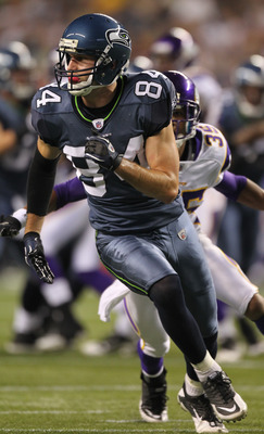 SEATTLE - AUGUST 20:  Wide receiver Kris Durham #84 of the Seattle Seahawks runs a pass route against the Minnesota Vikings at CenturyLink Field on August 20, 2011 in Seattle, Washington. (Photo by Otto Greule Jr/Getty Images)
