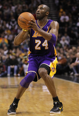 SAN ANTONIO, TX - DECEMBER 28:  Guard Kobe Bryant #24 of the Los Angeles Lakers at AT&T Center on December 28, 2010 in San Antonio, Texas.  NOTE TO USER: User expressly acknowledges and agrees that, by downloading and/or using this photograph, user is con